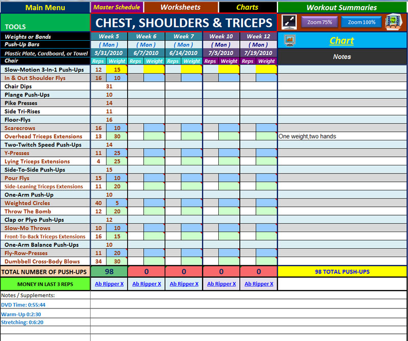 P90X R2 Day 36 Chest Shoulders and Triceps Fairly Fit – P90x2 Worksheets
